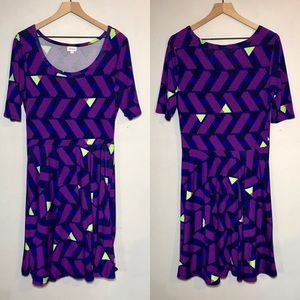 LuLaRoe Geometric 'Nicole' Mid Length Sleeve Dress